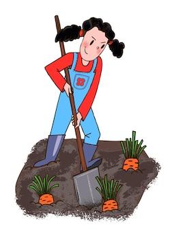 Плоский рисунок шаржа. молодая девушка копает лопатой морковь. дизайн персонажа