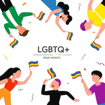 Мультяшный плоский лесбиянка, гей, бисексуал, транссексуал, квир, группа персонажей, держащая радужный флаг в знак протеста против дискриминации по признаку пола