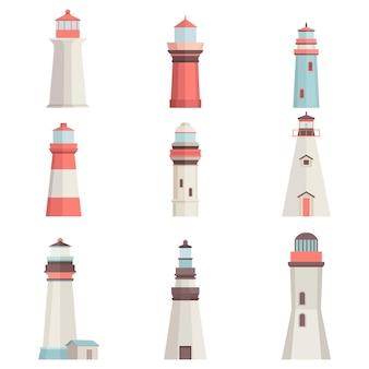 Cartoon flat lighthouses isolated on white