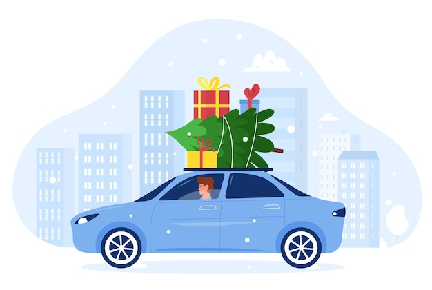 Cartoon flat man character driving car with xmas presents gifts and fir tree