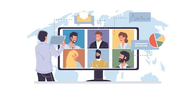 Мультяшный плоский человеческий персонаж разговаривает онлайн с друзьями-коллегами