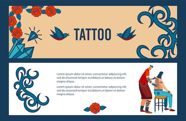 Мультяшный плоский человек-татуировщик делает татуировку и делает профессиональное творческое тело в старом стиле