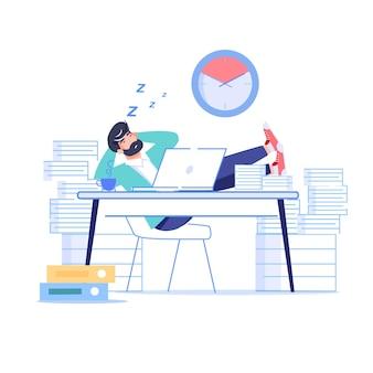 Мультфильм плоский менеджер офисный работник характер откладывая на рабочем месте.