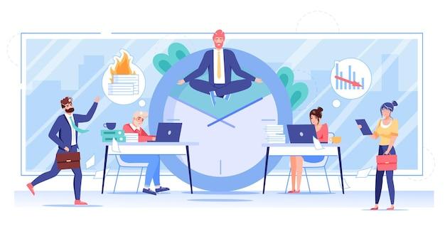 フラット オフィス ワーカーの漫画のキャラクターがヨガのポーズで飛ぶ。