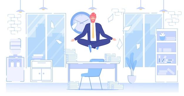 フラット オフィス ワーカーの漫画のキャラクターが瞑想します