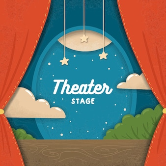 Cartoon flat paper theater stage with red curtains and clouds