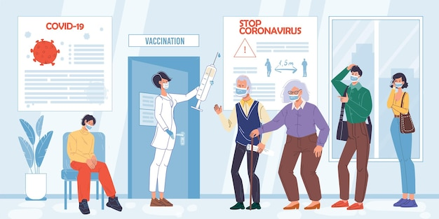 Cartoon flat patient characters waiting vaccination