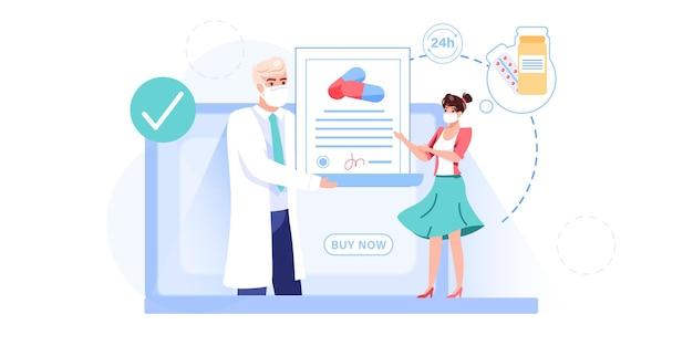 Cartoon flat patient,doctor characters