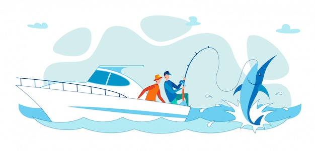 Cartoon flat people fishing on shark from boat.