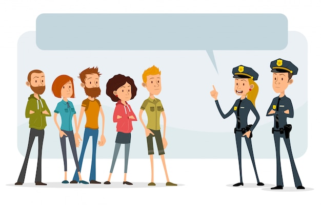 Cartoon flat police officers and teens characters