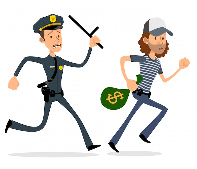 Cartoon flat policeman and thief characters