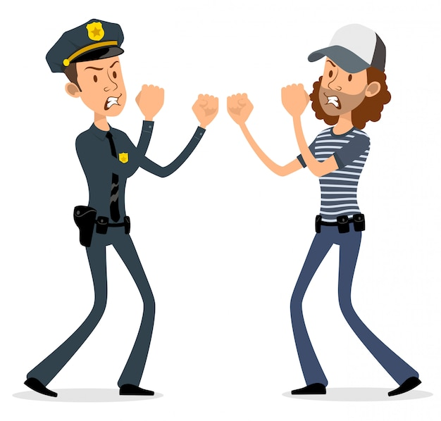 Cartoon flat policeman and thief characters