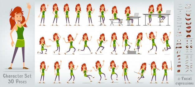 Cartoon flat redhead girl character big vector set