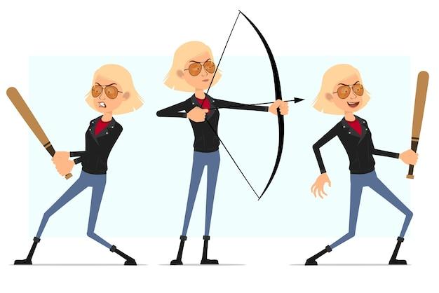 가죽 재킷에 만화 플랫 로큰롤 소녀 캐릭터. 활과 촬영과 야구 방망이와 싸우는 금발 화가 소녀.