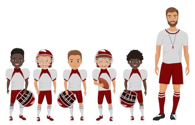 Cartoon flat school american football boys team standing with their coach trainer.