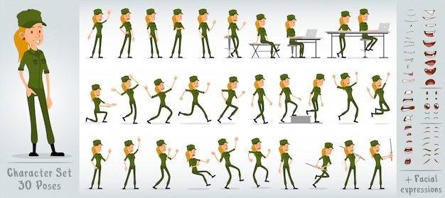 Cartoon flat soldier girl character big vector set