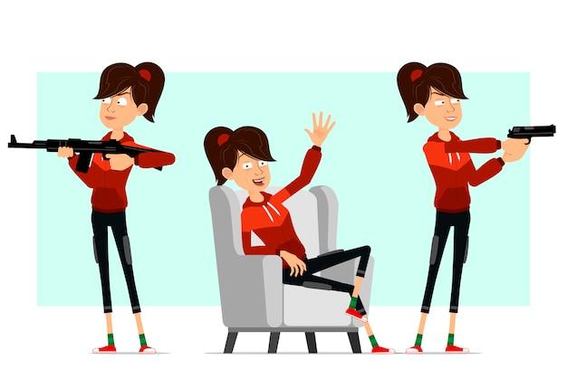 Cartoon flat sport girl character big set