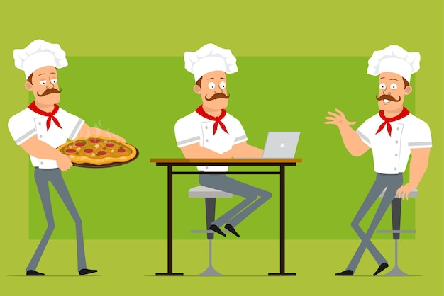 Cartoon flat strong chef cook man character in white uniform and baker hat. boy working on laptop and carrying pizza with salami and mushrooms.