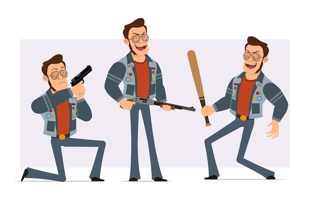 サングラスとジーンズのジャケットの漫画フラット強いディスコ男。野球のバットを持って、ピストルとショットガンから撃つ少年。