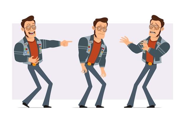 サングラスとジーンズのジャケットの漫画フラット強いディスコ男。少年は笑って、疲れて、悲しくて、怖くて、指を見せています。