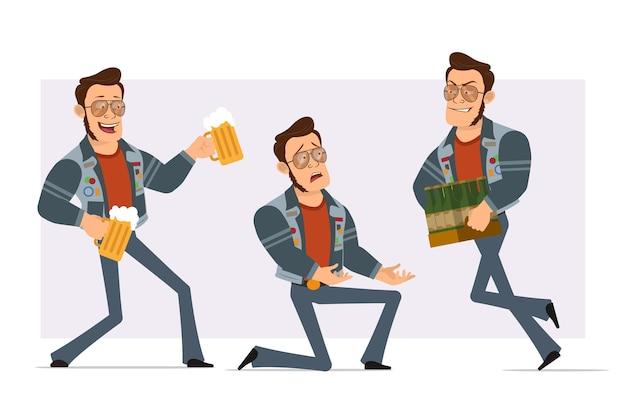 선글라스와 청바지 재킷에 만화 플랫 강한 디스코 남자. 무릎에 서서 맥주 병과 찻잔을 들고 소년.