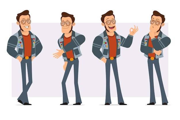 Мультяшный плоский сильный диско-человек в солнцезащитных очках и джинсовой куртке. мальчик думает, пожимает руки и показывает хорошо знаком.