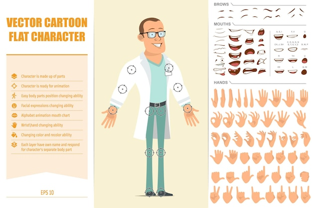 흰색 유니폼과 안경에 만화 평면 강한 의사 남자 캐릭터. 애니메이션 준비. 얼굴 표정, 눈, 눈썹, 입, 손을 쉽게 편집 할 수 있습니다. 노란색 배경에 고립.