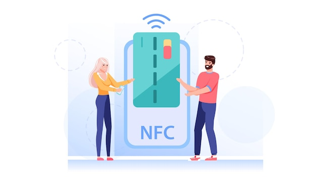 Cartoon flat style characters makes nfc contactless payment illustration
