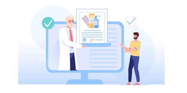 Мультяшный плоский стиль пациента, врачи-персонажи на работе