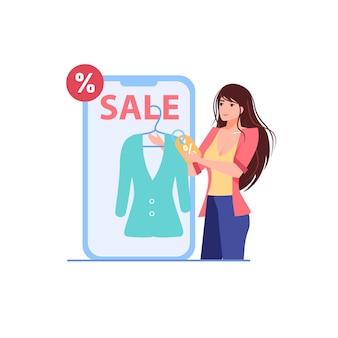 Мультяшный плоский женский персонаж использует иллюстрацию со скидками в интернет-магазинах