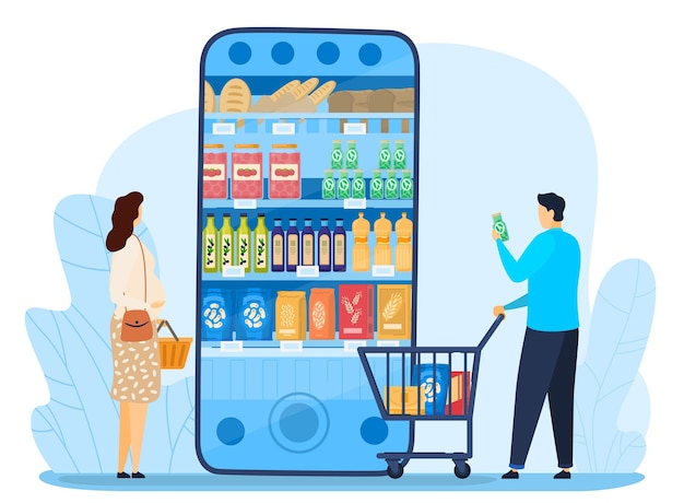 Cartoon flat tiny characters with trolley standing next to big smartphone with supermarket shop mobile app