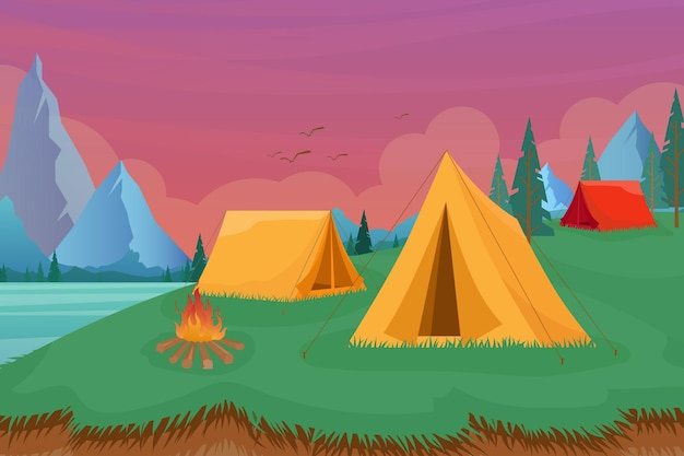 Cartoon flat tourist camp with picnic spot and tent among forest, mountain landscape