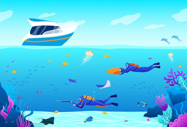 Cartoon flat underwater panoramic blue seascape with freediver characters swimming and hunting