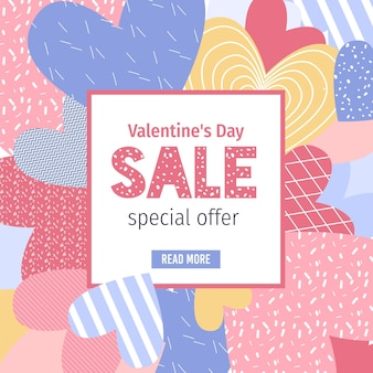 Cartoon flat valentine's day online shopping sales offer