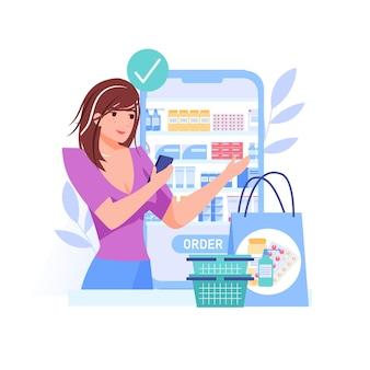Cartoon flat woman character ordering online Premium Vector