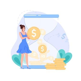 漫画の平らな女性のキャラクターは、砂時計の背景に収入の現在のシンボルです。