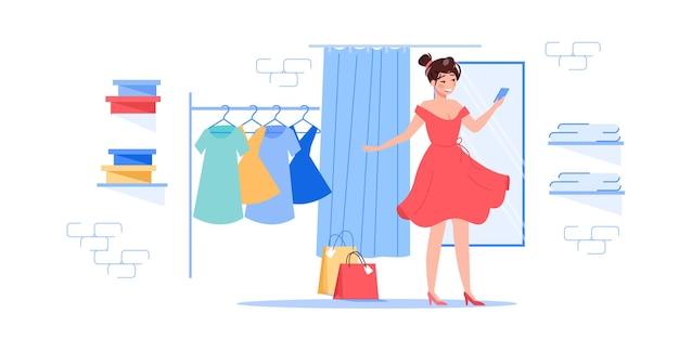 Мультяшный плоский женский персонаж пытается новое платье
