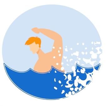 Реклама флаер купание в море cartoon flat.