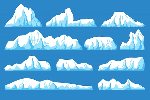 Cartoon floating iceberg vector set. ocean ice rocks landscape for climate and environment protection concept