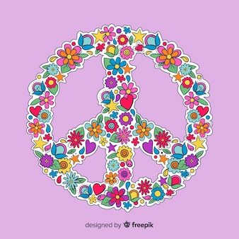 Cartoon floral peace sign background