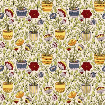 화분으로 만화 꽃 원활한 패턴