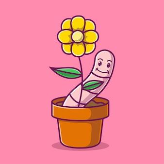Мультяшное цветочное растение в горшке вместе с милым червяком