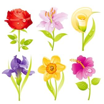 Cartoon flowers icon set.