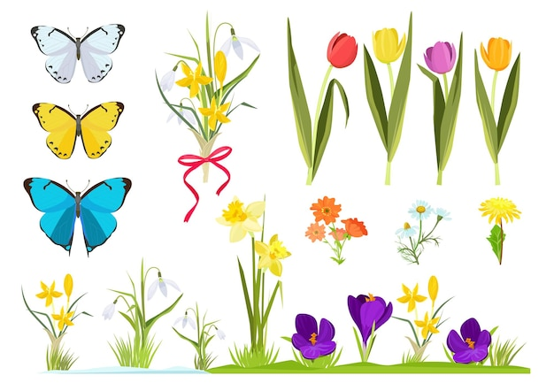 Cartoon flowers. spring plants gardening set chamomile and tulips grass  set.