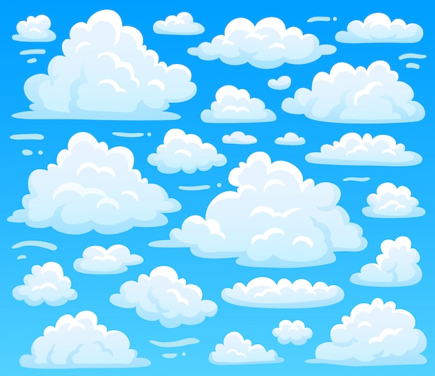 Cartoon fluffy cloud at azure skyscape. heavenly clouds on blue sky, atmospheric cloudscape vintage