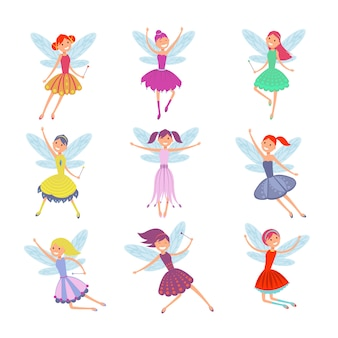 Cartoon flying fairies in colorful dresses vector set.