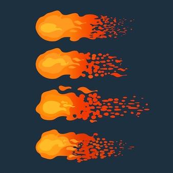 어두운 배경에 비행 불 덩어리 만화. 삽화