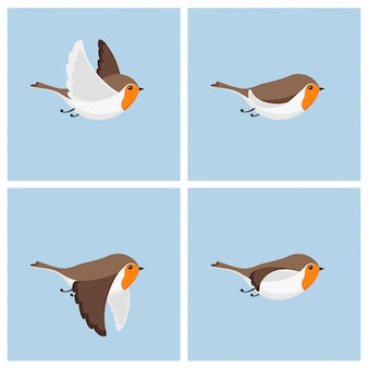 Cartoon flying robin bird animation sprite sheet.