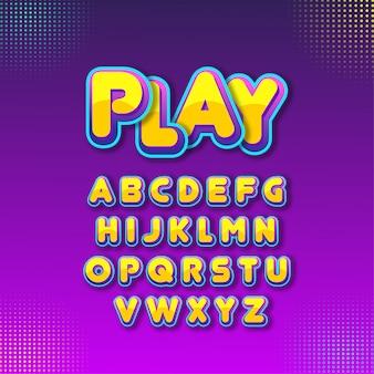 Алфавитный мультфильм шрифт