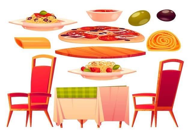 Collezione di mobili per food court dei cartoni animati